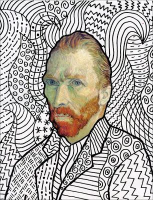 Van Gogh FREE Head Template~could  Zentangle the background!