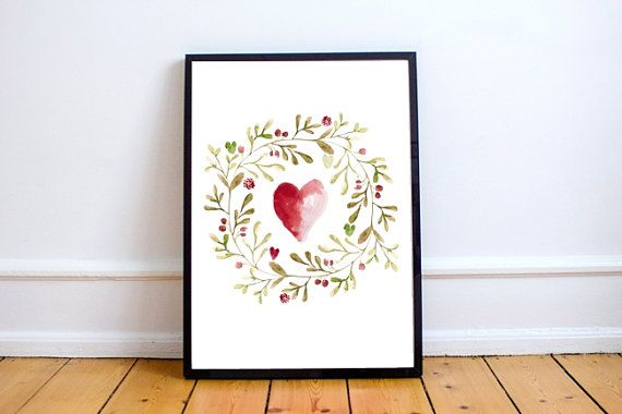 Love Sign Flower Heart Print Romantic Gift Watercolor Valentines Day Decor Printable Floral Wreath Wall Art Print by Paffle Design
