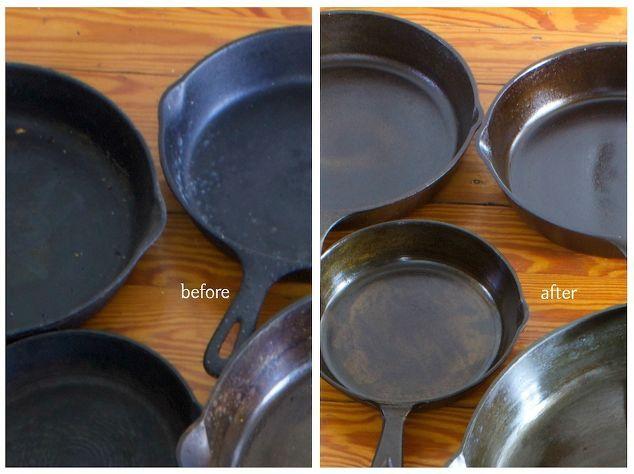 restauração de panelas de ferro fundido, limpeza dicas, como, projeto da cozinha
