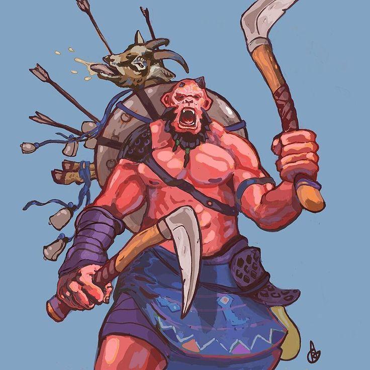 Orken Berserker #illustration #art #kingdomobscura #orc #orken #fantasyart #manga.