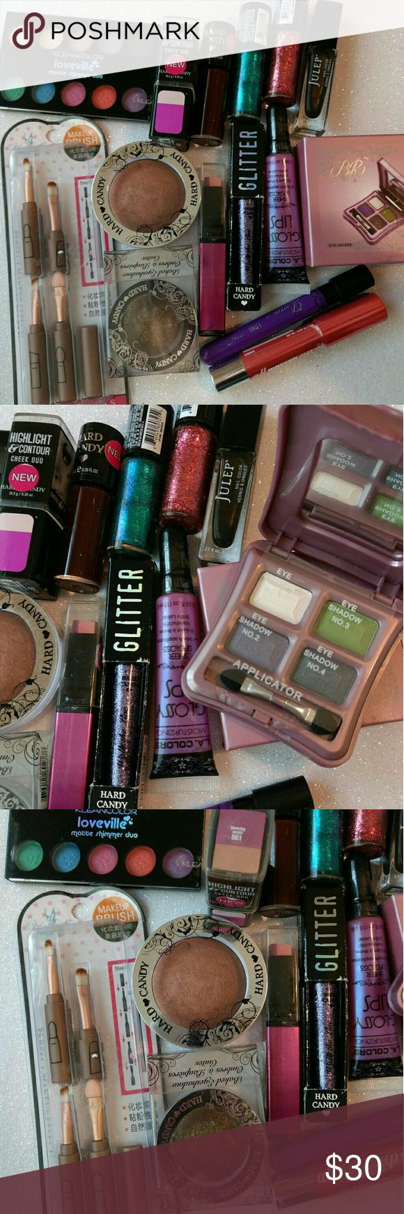 HUGE 15 pcs Makeup Bundle Wholesale!All Brand new,  unopened,  nothing expired,  make-up bundle.  What you see in photo is what you get. Lots of hard candy, and some other brands.  Hard candy is my personal fav!  Add this to your make-up collection or buy to re-sale.  I have a few other make-up bundles I'll be posting.  Discounts on more than one bundle.  Selling low to get rid of my extra stock.  Was selling lots of make-up on another app,  and this is the last of it...taking a break for…