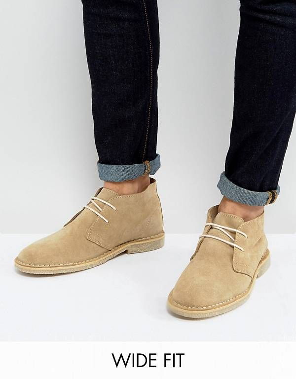 c05ee41ace9 ASOS Wide Fit Desert Boots in Stone Suede | Men's shoes in 2019 ...