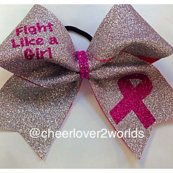 Pink Breast Cancer Awareness Cheer Cheerleading/Dance Ribbon Bow