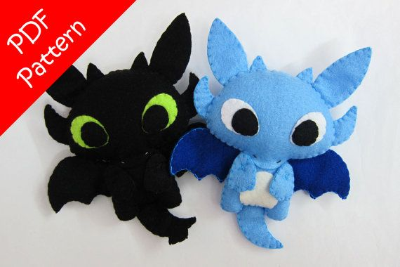Dragon or Toothless Alike Plush PDF Pattern Instant by araleling
