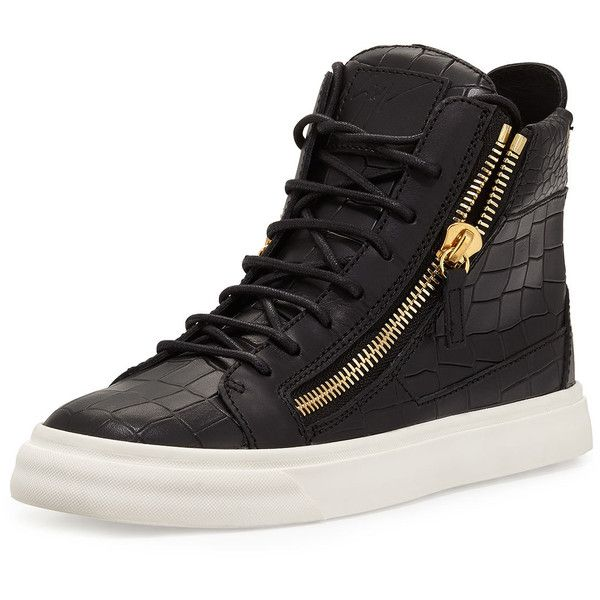 Giuseppe Zanotti Crocodile-Embossed High-Top Sneaker ($695) ❤ liked on Polyvore featuring shoes, sneakers, nero, leather high tops, giuseppe zanotti shoes, high top sneakers, crocs shoes and low heel shoes