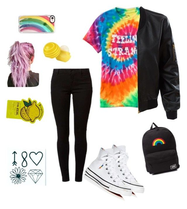 Rainbow set is my love 🌈🍬❤️ by ola-kruszyk on Polyvore featuring polyvore, fashion, style, LE3NO, Dorothy Perkins, Converse, Vans, Inked by Dani, Casetify, Tony Moly, Eos and clothing