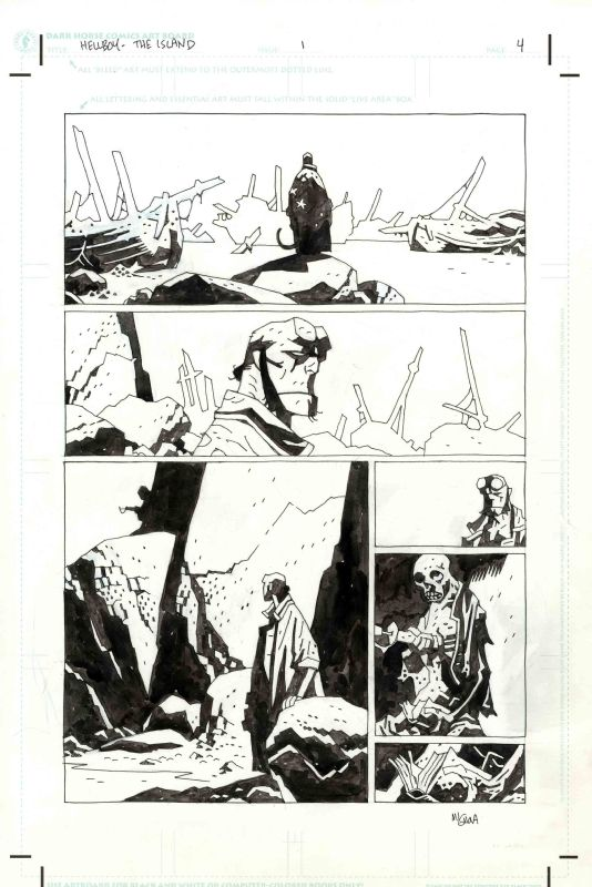 Hellboy - The Island by Mike Mignola Comic Art