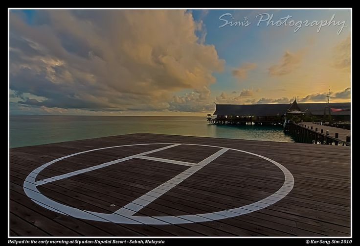 Helipad in the early morning at Sipadan-Kapalai Resort - Sabah, Malaysia