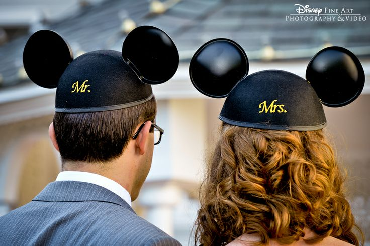 There's nothing like matching Mr. & Mrs. Mickey ears for a Disney wedding #Disney #wedding #Mickey #ears