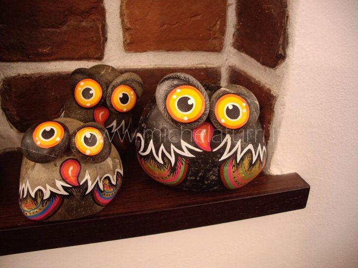 sassi dipinto : Sassi dipinti - Gufi con calamita PAINTED STONES (Birds) Pinterest ...