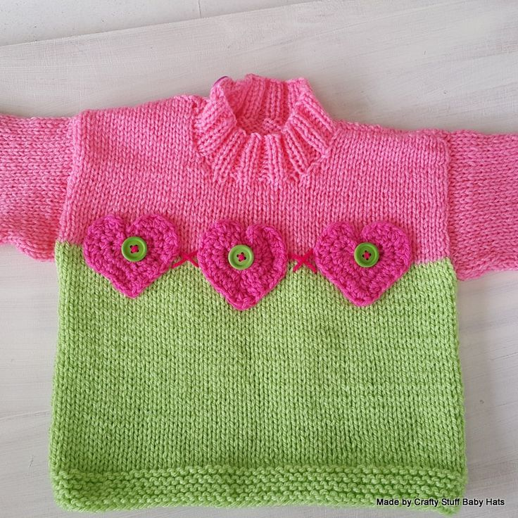 Little Girls Knitted Pullover in Pink and Lime with heart detail (OOAK) approx 4 years old. Springtime sweater by CraftyStuffBabyHats on Etsy