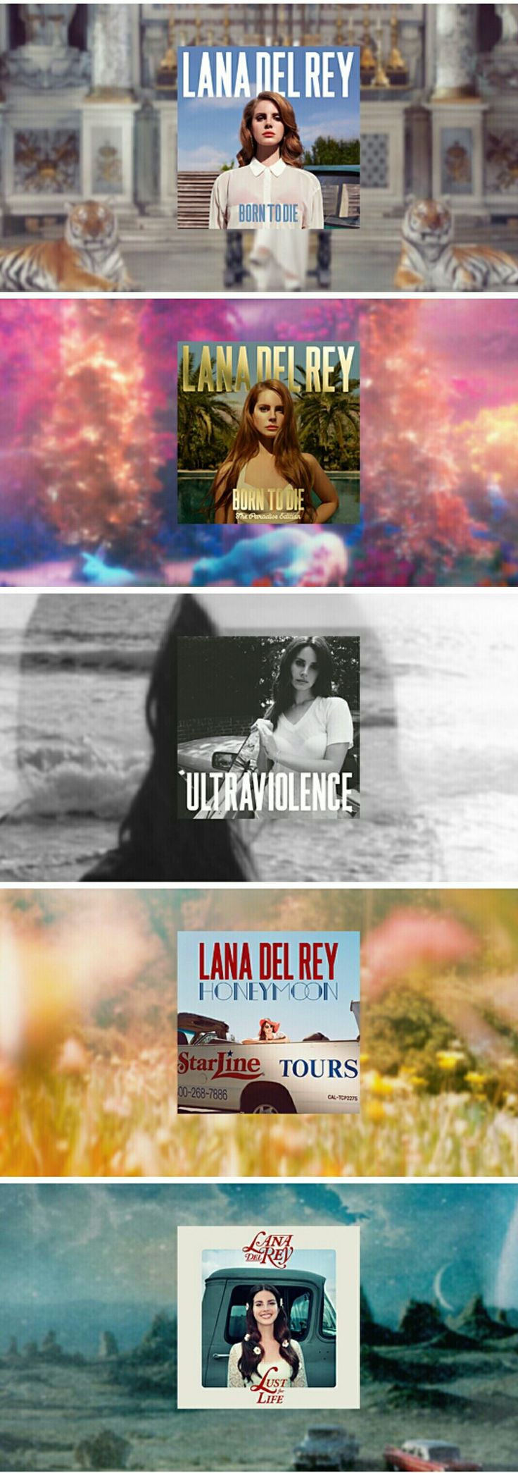 Lana Del Rey discography #LDR #discography #BornToDie #ParadiseEdition #Ultraviolence #Honeymoon #LustForLife