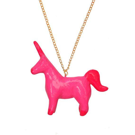 NEON PINK UNICORN pendant unicorno rosa by OhMyGodJewels on Etsy