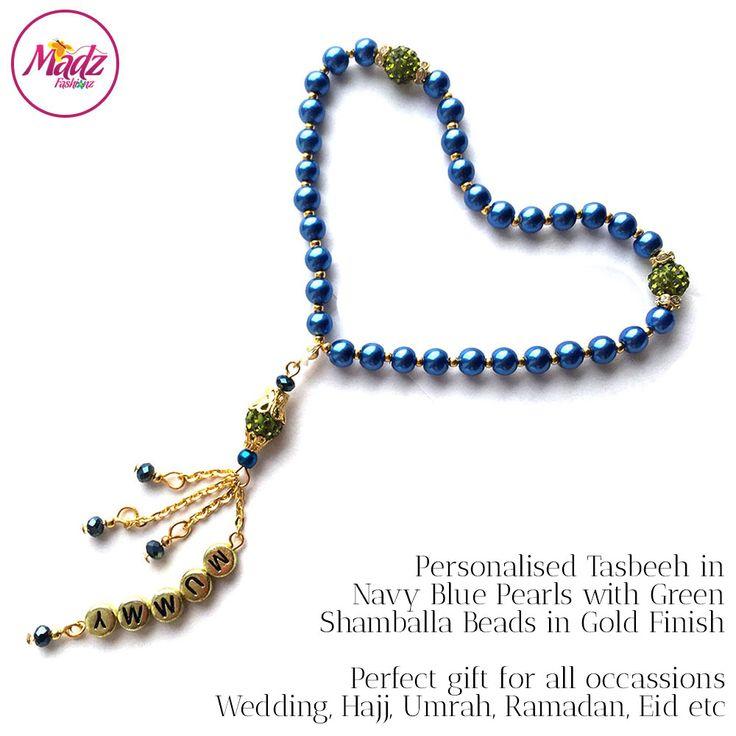 Navy Blue 33 Beads pearls Personalised tasbeeh tasbihs tasbi misbaha Personalized islam islamic gifts muslim eid ramadan gift prayer tasbeehs madzfashionz