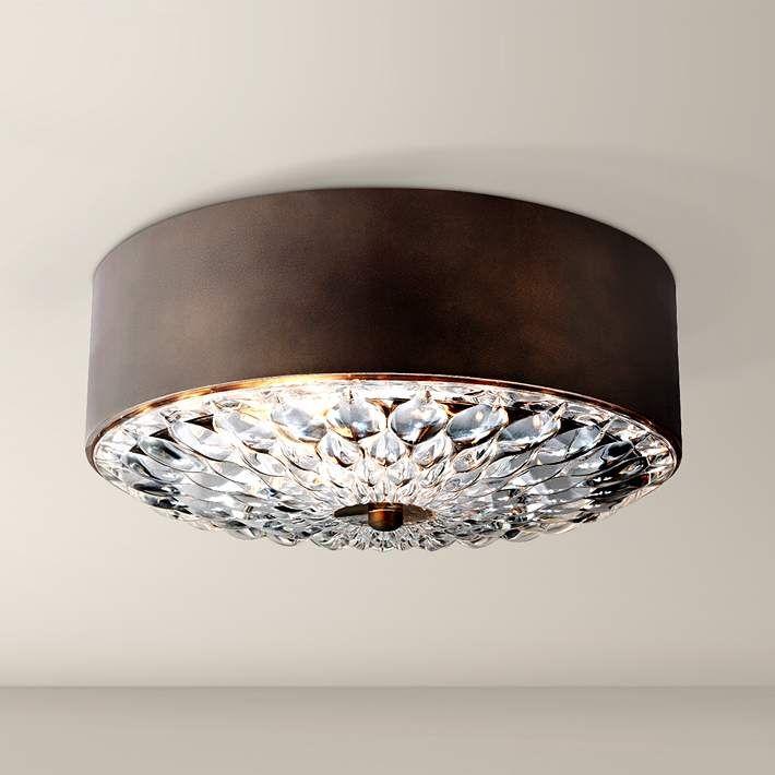 """Feiss Botanic 13 3/4"""" Wide Dark Aged Brass Ceiling Light"""