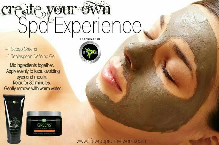 Step One: An easy mixture of It Works Greens and It Works Defining Gel. This mask has done wonders for my complexion. * Reduces fine lines and sun damage (Defining Gel * Clears up existing acne (Greens) * Heals old acne scars/spots (Defining Gel and Greens) * Helps heal ezema (Defining Gel and Greens) * Reduces the apperance of veins and redness (Defining Gel)