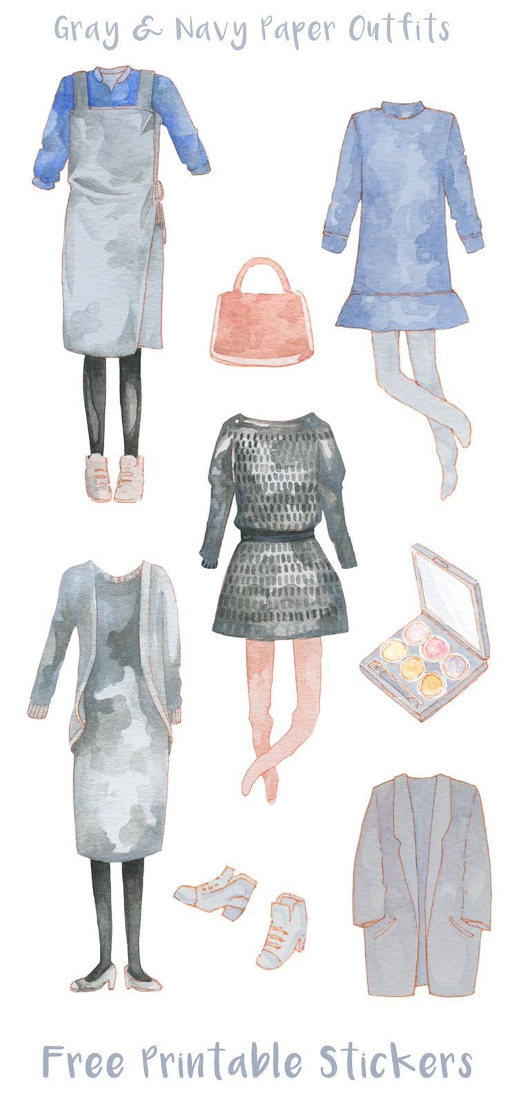 Free printable fashion stickers. Minimalist, navy & gray daily outfits and makeup illustration. These hand drawn watercolor pieces illustrate my blog post on Korean weddings, guest etiquette and wardrobe tips. They're perfect to decorate journals, planners and scrapbooks!