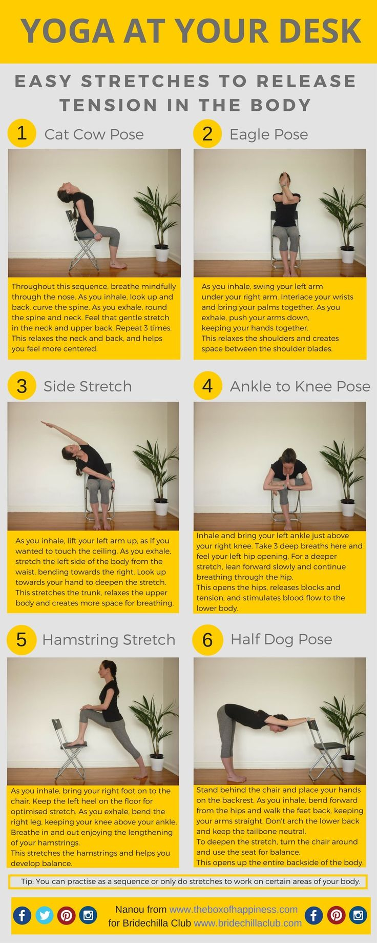 6 powerful & easy yoga moves to beat stress at your desk
