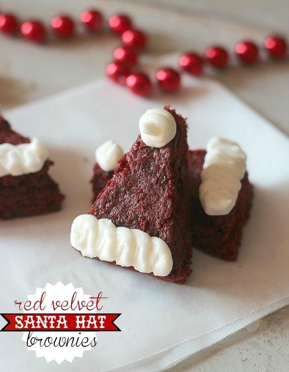 red velvet cake mix santa hat brownies