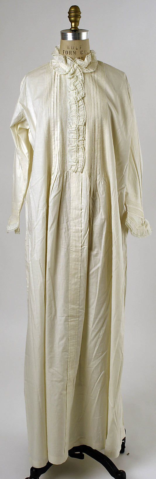 Nightgown Date: 1880s Culture: American Medium: cotton Dimensions: Length (sf): 58 in. (147.3 cm)