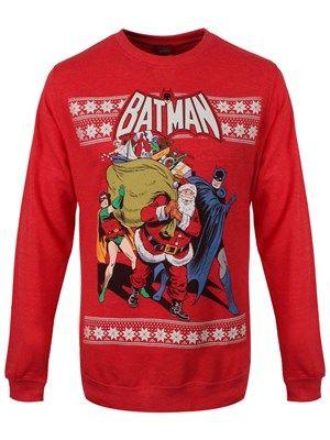 DC Comics Santa Batman & Robin Red Sweatshirt