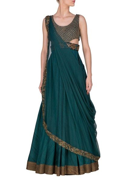 Anarkali, Clothing, Carma, TEAL BLUE ANARKALI SUIT WITH DRAPED DUPATTA , , , , Reception , Wedding , Sangeet , , Cotton Silk , India , Dryclean Only , , , ,