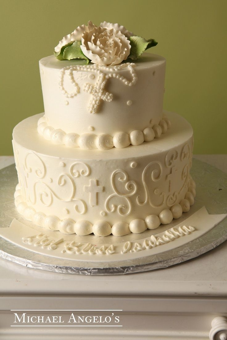 buttercream icied round tiered cakes baptism | All Ivory #22Religious his two-tier round design is topped off with ...