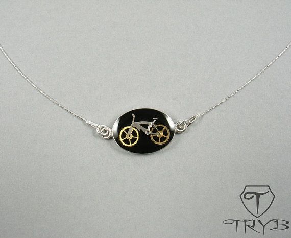 Little bicycle - necklace - handmade of watch parts in rhodium silver base. #handmade #bike #bicycle #rhodium #silver #black #necklace #tryb #jewelry
