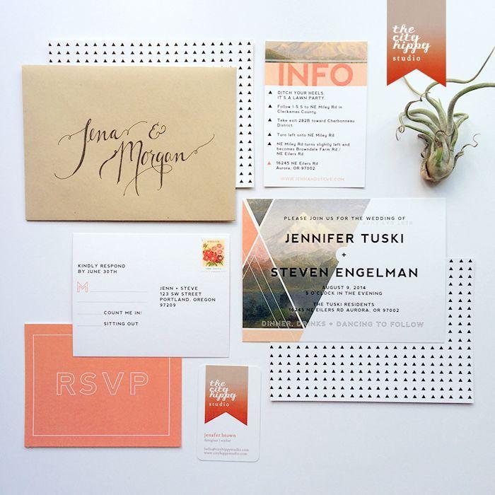 jenn & steve   geometric in nature wedding invitation