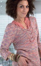 Схема вязания: Пуловер с центральным ажурным узором | Пуловеры спицами - petelka.net
