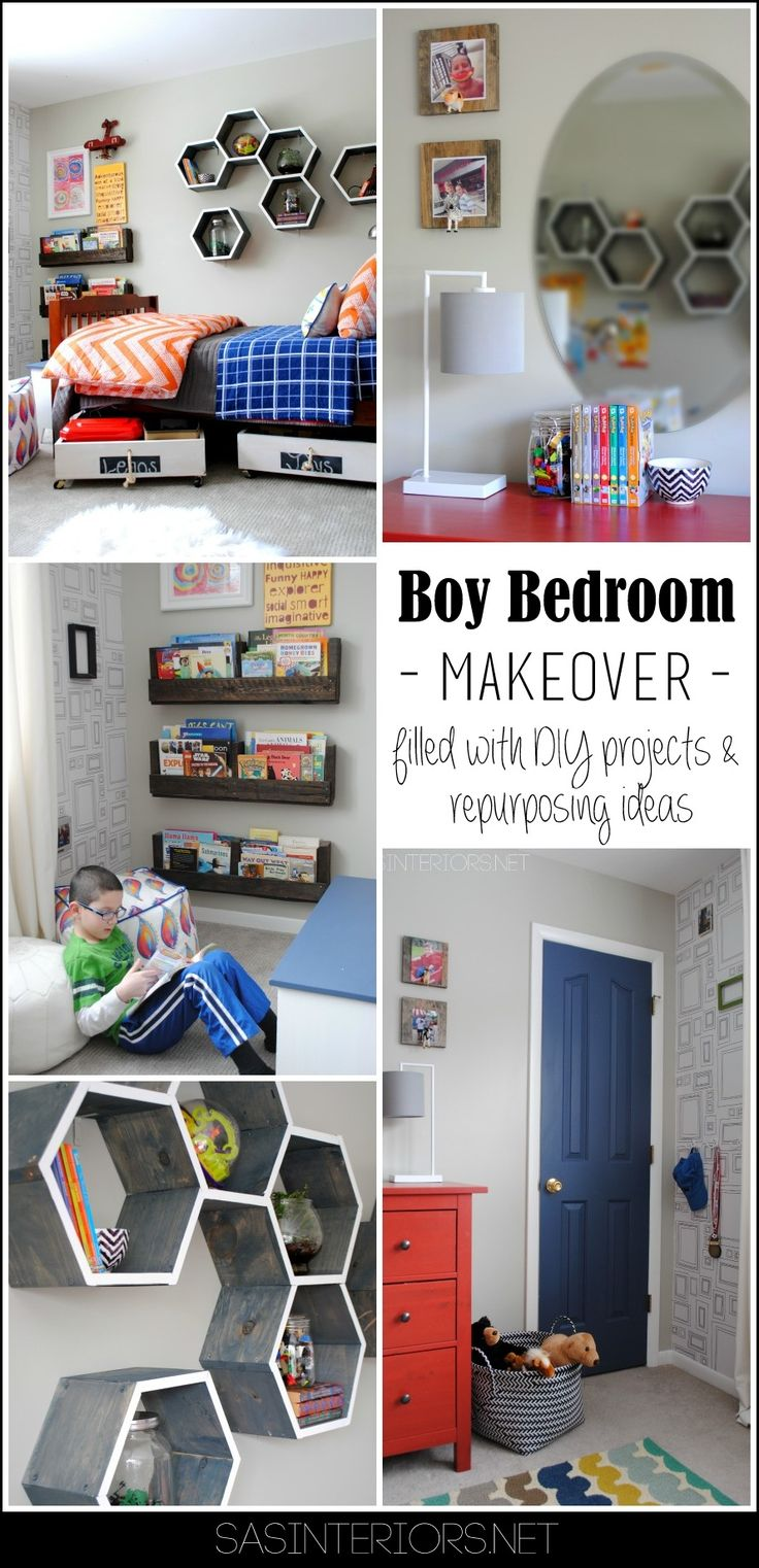 Boy Bedroom {MAKEOVER} - Gray walls, picture frame wallpaper, pops of orange + blue + black. The perfect space for a young boy to teen. You won't want to miss all the creative DIY projects & repurposing ideas in this room!