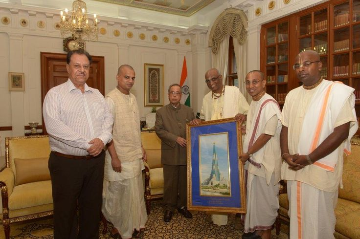 Sri Madhu Pandit Dasa, the Chairman and Sri Chanchalapathi Dasa, the President of Vrindavan Chandrodaya Mandir, met with Sri Pranab Mukherjee, the Honourable President of India. During the meeting, Sri Madhu Pandit Dasa briefed the Honourable President about the upcoming world's tallest temple - Vrindavan Chandrodaya Mandir and various aspects of the project.