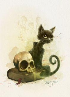 """Edgar Allan Poe's The Black Cat by David Garcia Forés. Ilustración para la antología ilustrada """"Edgar Allan Poe's Ravings of Love & Death"""""""