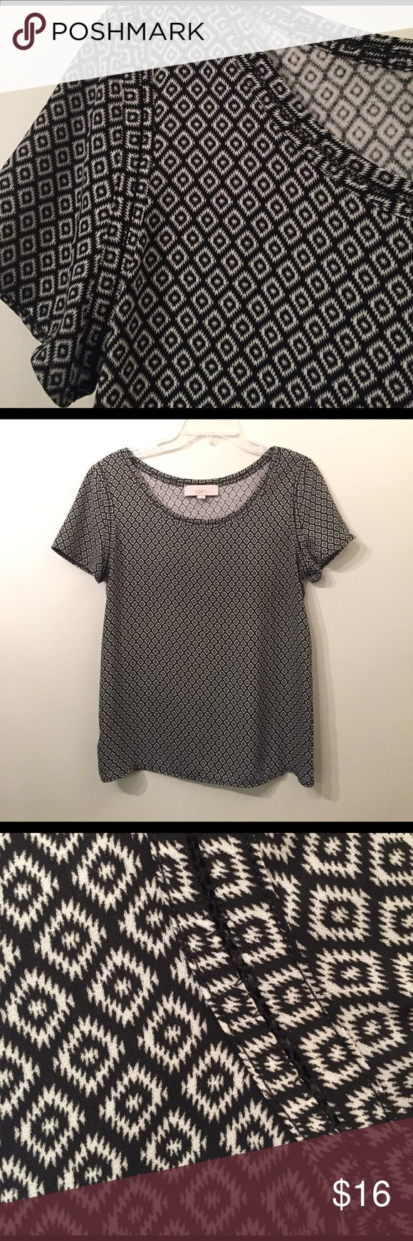LOFT black and white short sleeve blouse LOFT black and white patterned blouse. Short sleeves with detail around neckline and arm holes. Front panel 100% polyester silky feel. Back panel of shirt 70% rayon and 30% lyocell. LOFT Tops Blouses