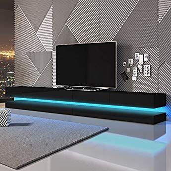 Aviator Double Le Meuble Tv Suspendu 280 Cm Noir Mat Noir