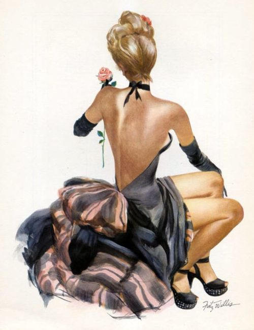 Fritz WillisVintage Illustration, Vintage Pinup, Pinupgirl, Pinup Girls, Pink Rose, Pinup Art, Fritz Willis, Vintage Art, Pin Up Girls