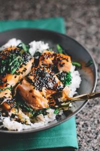 Tone It Up - Recipe Profile - ASIAN SALMON AND SPINACH RICE BOWLS