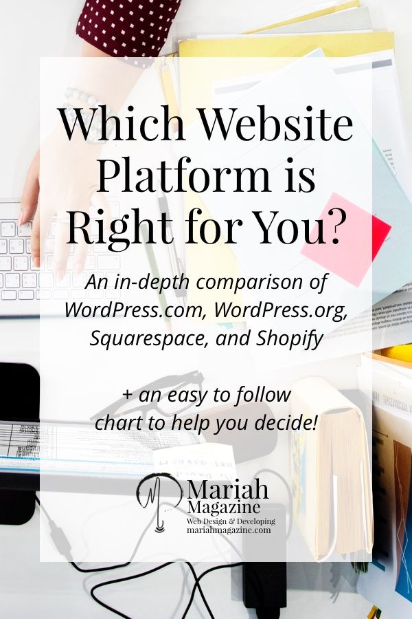 Which website platform is right for you? WordPress.com, WordPress.org, Squarespace or Shopify? Let's find out! via @mariahmagazine