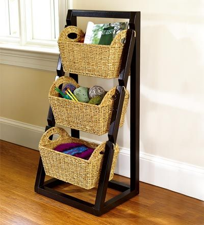 I'd really like to find one with big round baskets facing forward a bit for laundry.  Or a much smaller two tiered one for the kitchen counter.  This one screams shoes though.