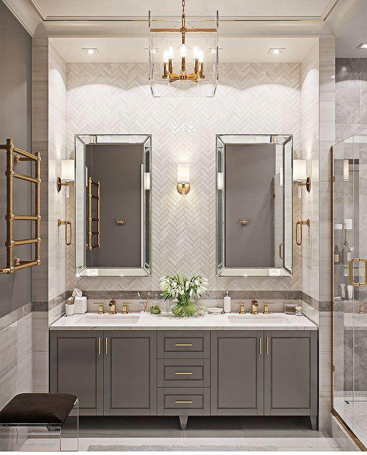 Gray And Gold Bathroom Bathrooms In 2019 Bathroom
