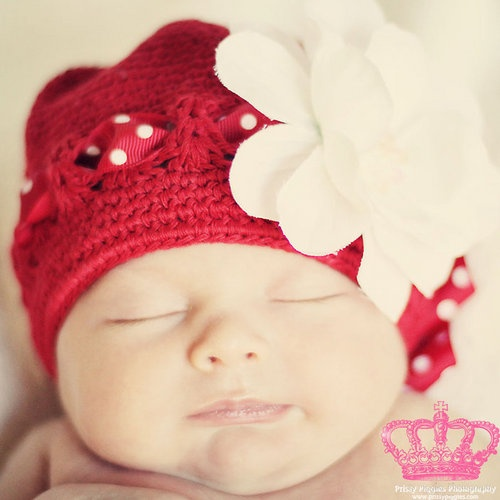 Prissy Piggies Red Knit Hat-prissy piggies, hat, knit hat, red, christmas, santa, holiday, pictures, photo shoot, girl, baby, newborn, baby shower gift, trendy, baby boutique