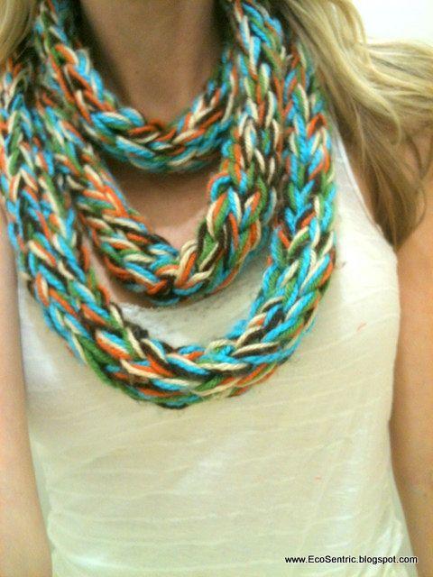 Finger knit scarf
