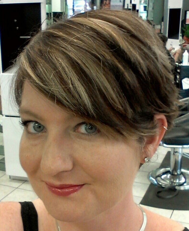 Short Brown Hair With Caramel Highlights My short dark brown hair with