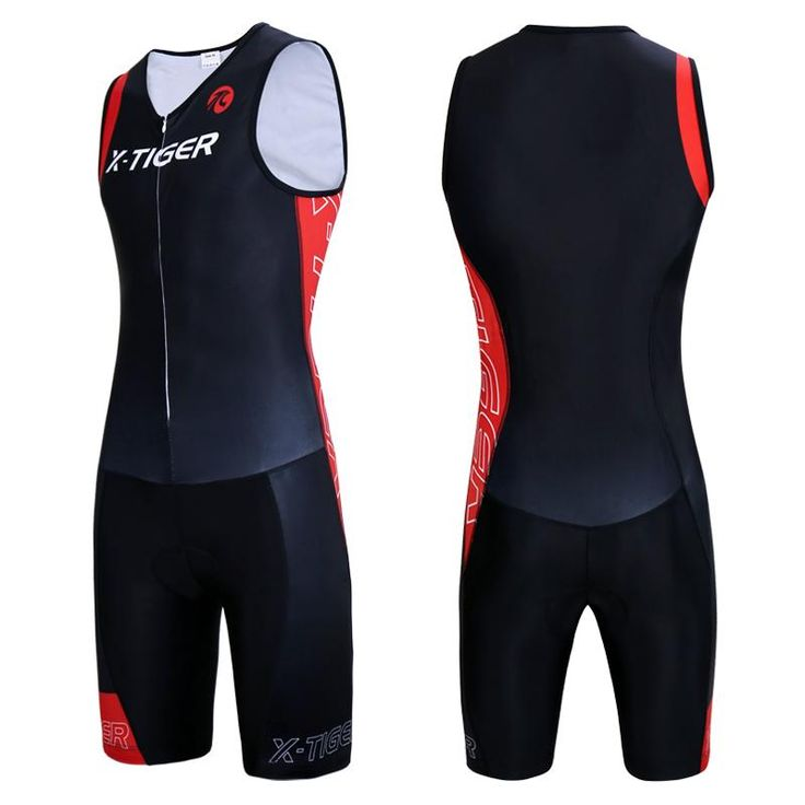 X-Tiger Men Triathlon Cycling Jersey Sponge Pad Cycling Skinsuit Summer Quick-dry Sleeveless Running Swimming Cycling Clothing