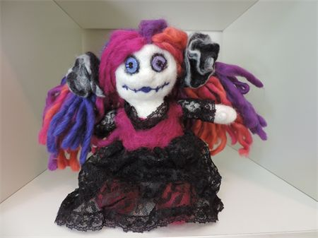 Bright gothic felted wool cloth rag doll. Softie, plush toy by NomesB Cre8tions
