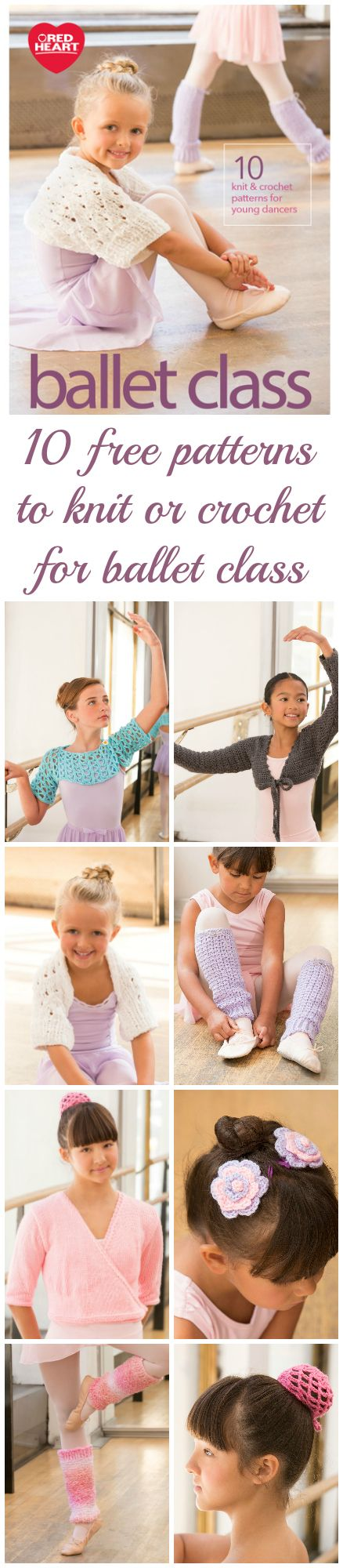 10 pretty patterns to knit or crochet for ballet class and young dancers.  Free e-book download.