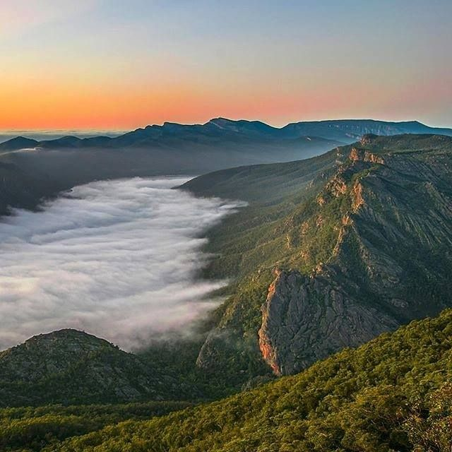 Sunrise over the Grampians VIC - Little town of Halls Gap is hiding under this cloud cover.