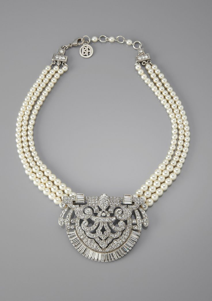 art deco pearl + rhinestone medallion necklace