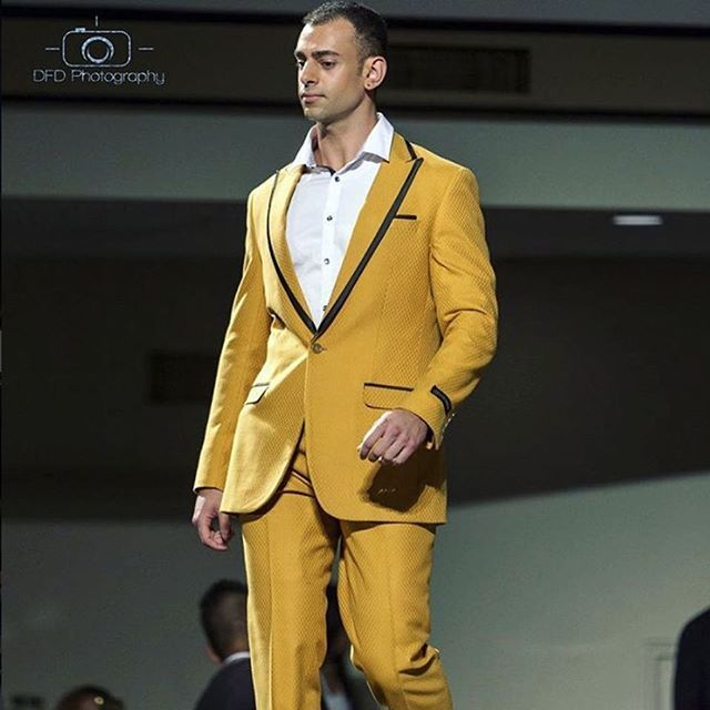 Mens suit designed by Lena Kasparian at the FashionMandu runway show... new year, new collection. #lenakasparian #mustard #suit #design #menswear #suiting #couture #suitjacket #designer #australianfashion #designersuit