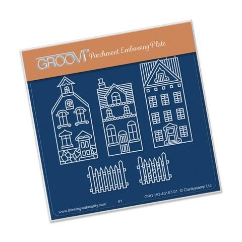 Wee Houses & Fence <br/> A6 Square Groovi Baby Plate <br/> (Set GRO-HO-40344-01)